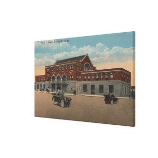 Pocatello, ID - Exterior View of O.S.L. Train Canvas Print