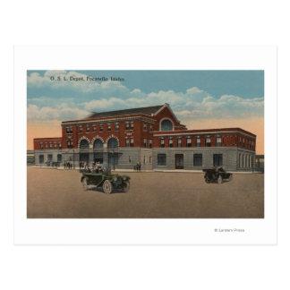 Pocatello, ID - Exterior View of O.S.L. Train Postcard