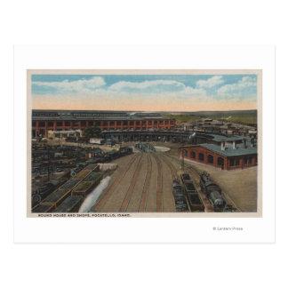 Pocatello, ID - Train Depot Round House & Postcard