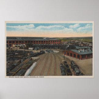 Pocatello, ID - Train Depot Round House & Poster