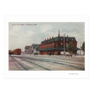 Pocatello, ID - Trains & People Around Train Postcard