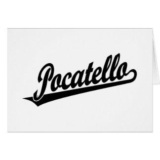 Pocatello script logo in black card
