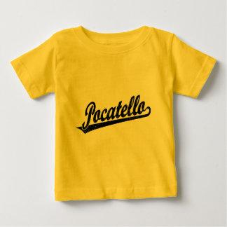 Pocatello script logo in black distressed shirt