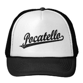 Pocatello script logo in black distressed trucker hat