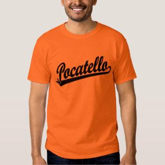 Pocatello script logo in black tee shirt