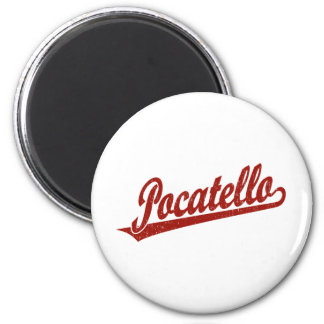 Pocatello script logo in red distressed 2 inch round magnet