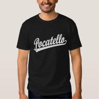 Pocatello script logo in white t shirt
