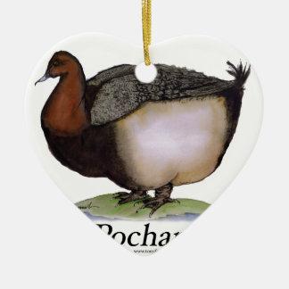 Pochard duck, tony fernandes ceramic heart decoration