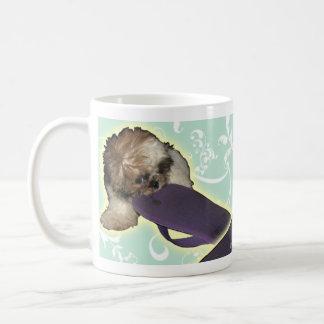 Pochi Puppy with Purple Flipflop Classic White Coffee Mug