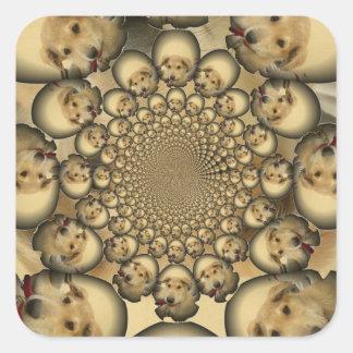 Pocilga asombrosa del infinito de los perritos y pegatina cuadrada