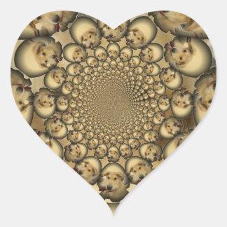 Pocilga asombrosa del infinito de los perritos y pegatina en forma de corazón