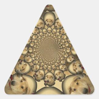 Pocilga asombrosa del infinito de los perritos y pegatina triangular