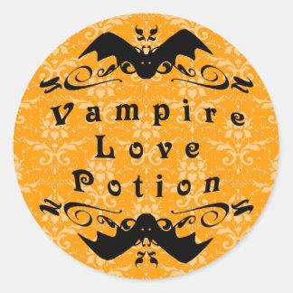 Poción de amor del vampiro Halloween (naranja) Etiquetas Redondas