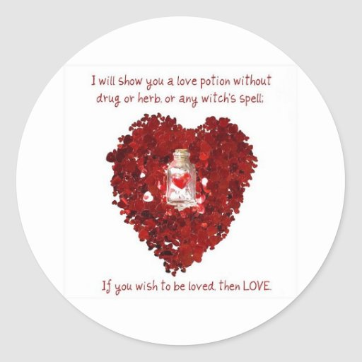 Poción de amor número 9 pegatina redonda