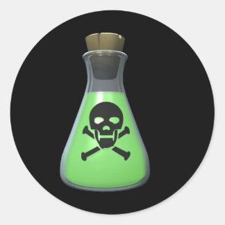 Poción verde tóxica pegatina redonda