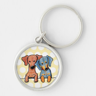 Pocket Doxie Duo Silver-Colored Round Keychain
