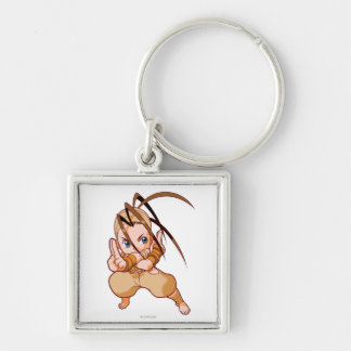 Pocket Fighter Ibuki Silver-Colored Square Keychain