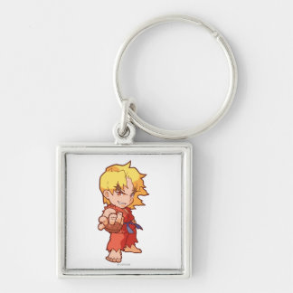 Pocket Fighter Ken 2 Silver-Colored Square Keychain