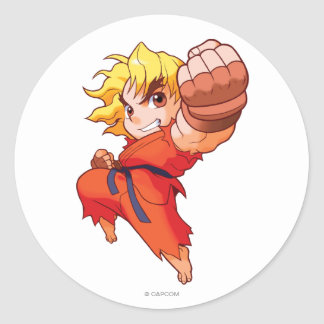 Pocket Fighter Ken Classic Round Sticker