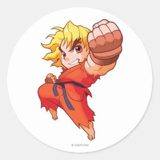 Pocket Fighter Ken Classic Round Sticker
