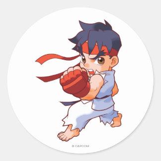 Pocket Fighter Ryu 2 Round Stickers