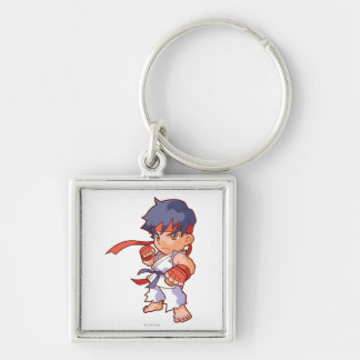 Pocket Fighter Ryu Silver-Colored Square Keychain