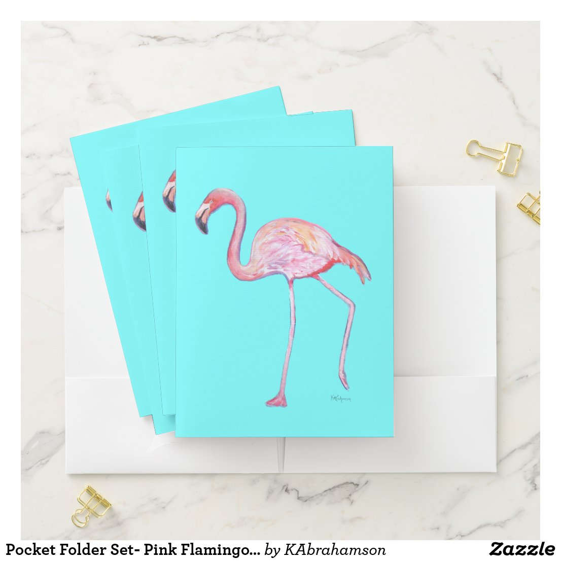 Pocket Folder Set- Pink Flamingo Turquoise
