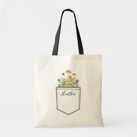 Pocket Full of Flowers Personalized With Your Name Tote Bag