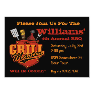 Pocket Grill Master BBQ Invitations