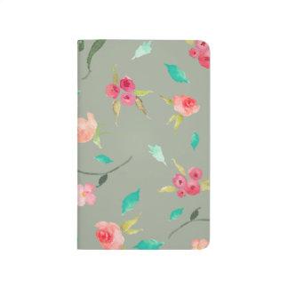 Pocket Journal Watercolor Flower Fields, Grey