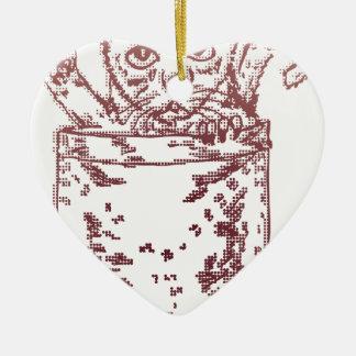 Pocket Kitten 2 Double-Sided Heart Ceramic Christmas Ornament