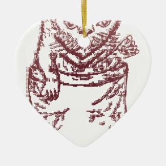 Pocket Kitten Double-Sided Heart Ceramic Christmas Ornament