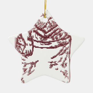 Pocket Kitten Double-Sided Star Ceramic Christmas Ornament
