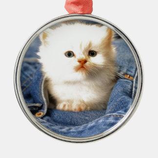 Pocket Kitten Round Metal Christmas Ornament