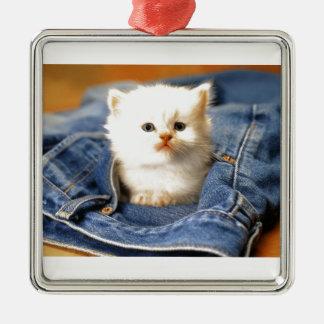 Pocket Kitten Square Metal Christmas Ornament