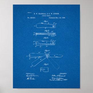 Pocket Knife Patent - Blueprint Poster