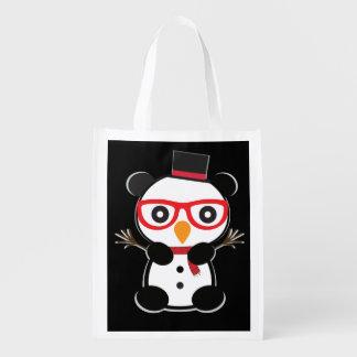 Pocket Panda Bear Snowman Tote Bag -Leon The Panda Reusable Grocery Bags