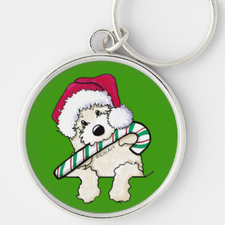 Pocket Santa Doodle With Candycane Silver-Colored Round Keychain