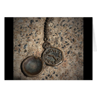 Pocket watch embedded in cement card