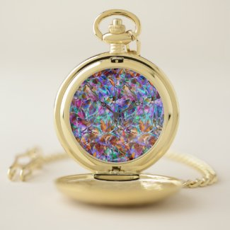 Pocket Watch Floral Abstract Stained Glass