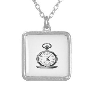 Pocket Watch Vintage Newspaper Ad Square Pendant Necklace
