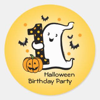 Poco 1r cumpleaños del fantasma etiquetas redondas