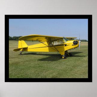 Poco aeroplano amarillo póster