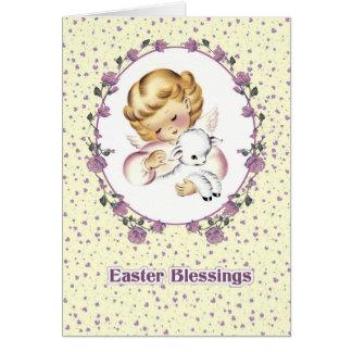 Poco ángel con las tarjetas de Lamb.Christian pasc