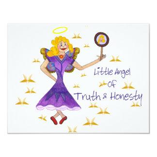"""Poco ángel de la verdad y de la honradez invitación 4.25"""" x 5.5"""""""