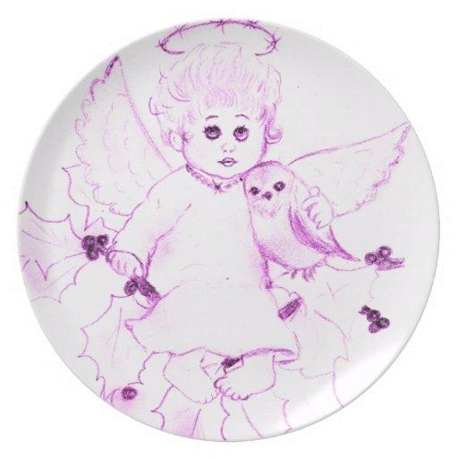 Poco ángel en rosa plato