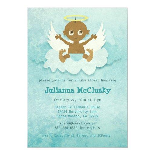 Poco ángel - muchacho - afroamericano invitación 12,7 x 17,8 cm