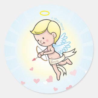 Poco ángel pegatina redonda