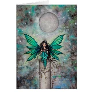 Poco arte de hadas gótico verde de la fantasía de tarjeta de felicitación