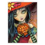 Poco arte de la fantasía de la bruja de Halloween Felicitaciones